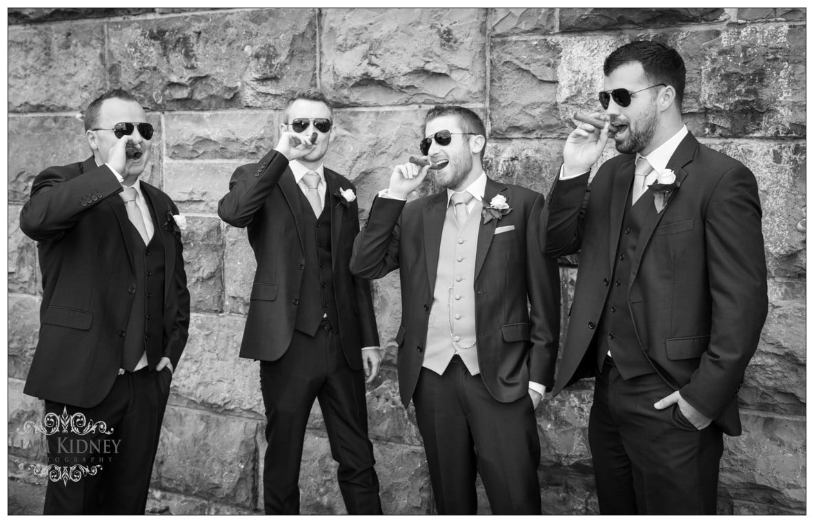 Galway Wedding Photography with the Grooms men outside Galway Cathedral