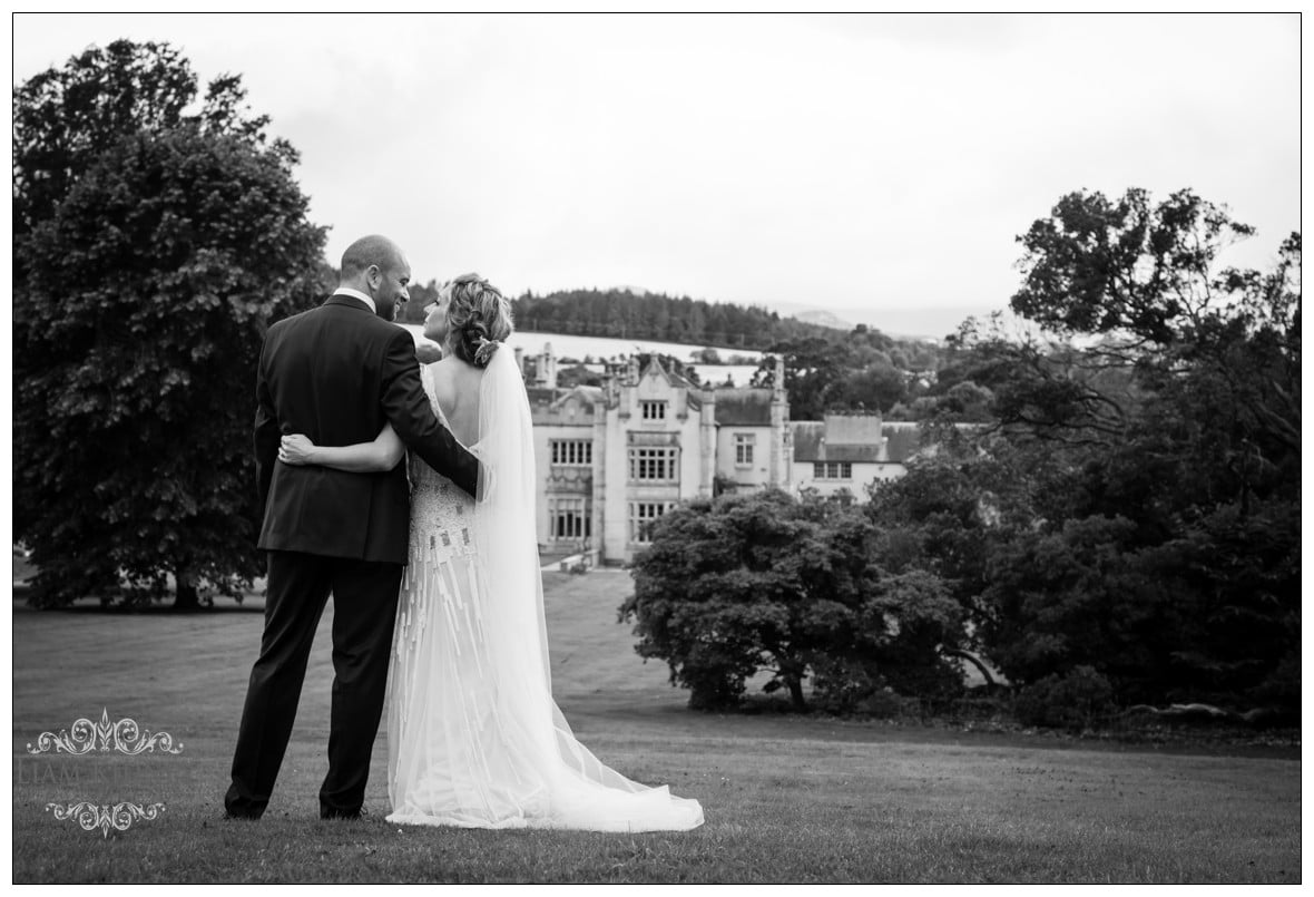 The Wedding couple Alex and Brian overlooking at Killruddery House & Gardens in Bray