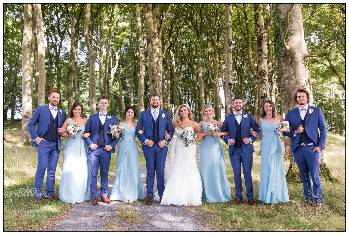 Sarah And Torin with their wedding party in Glasson Country House Hotel Wedding