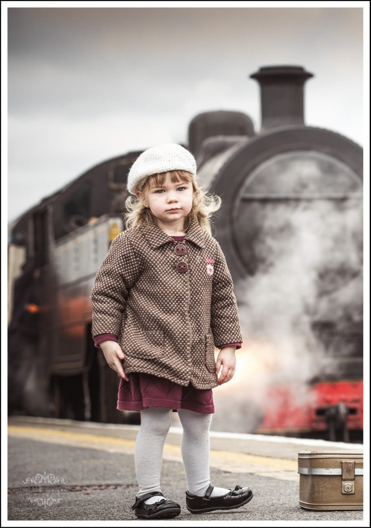 Aine in front of the Steam Train when it entered Athlone