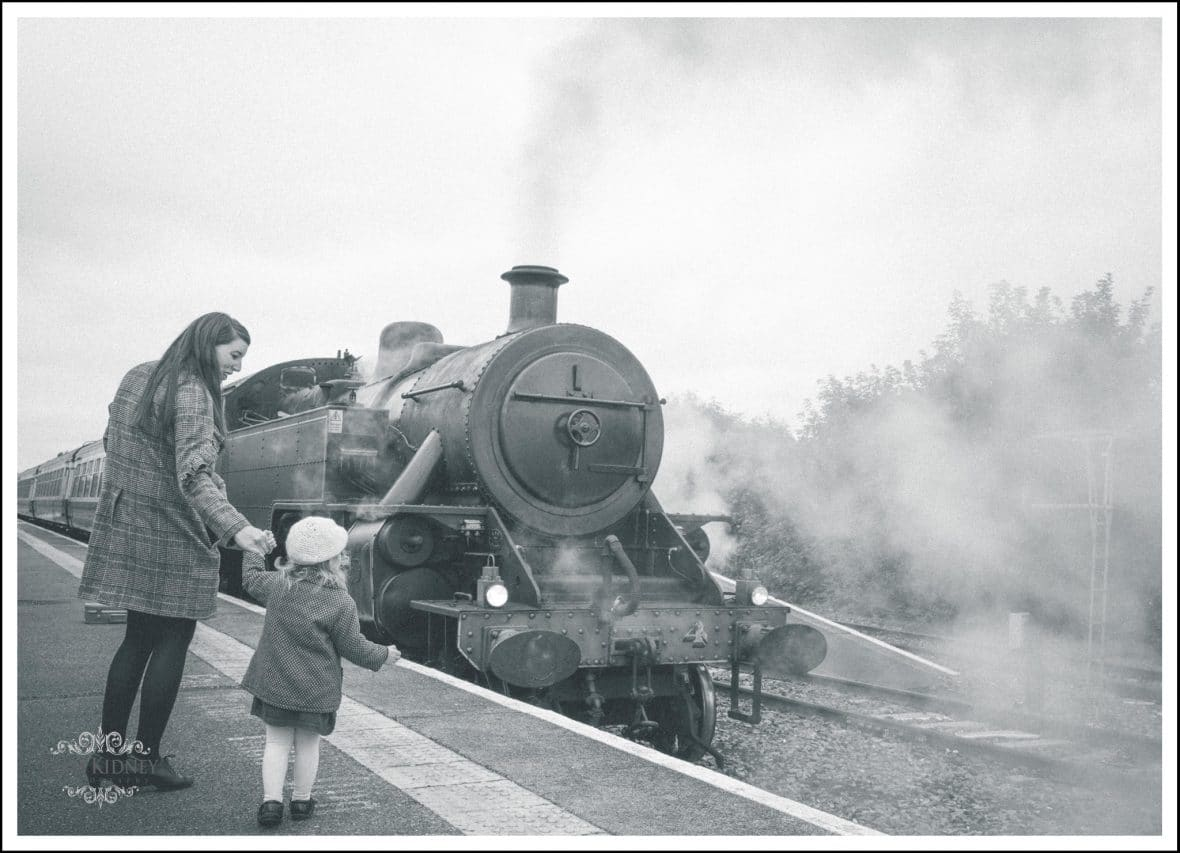 Aine in front of the Steam Train when it left Athlone